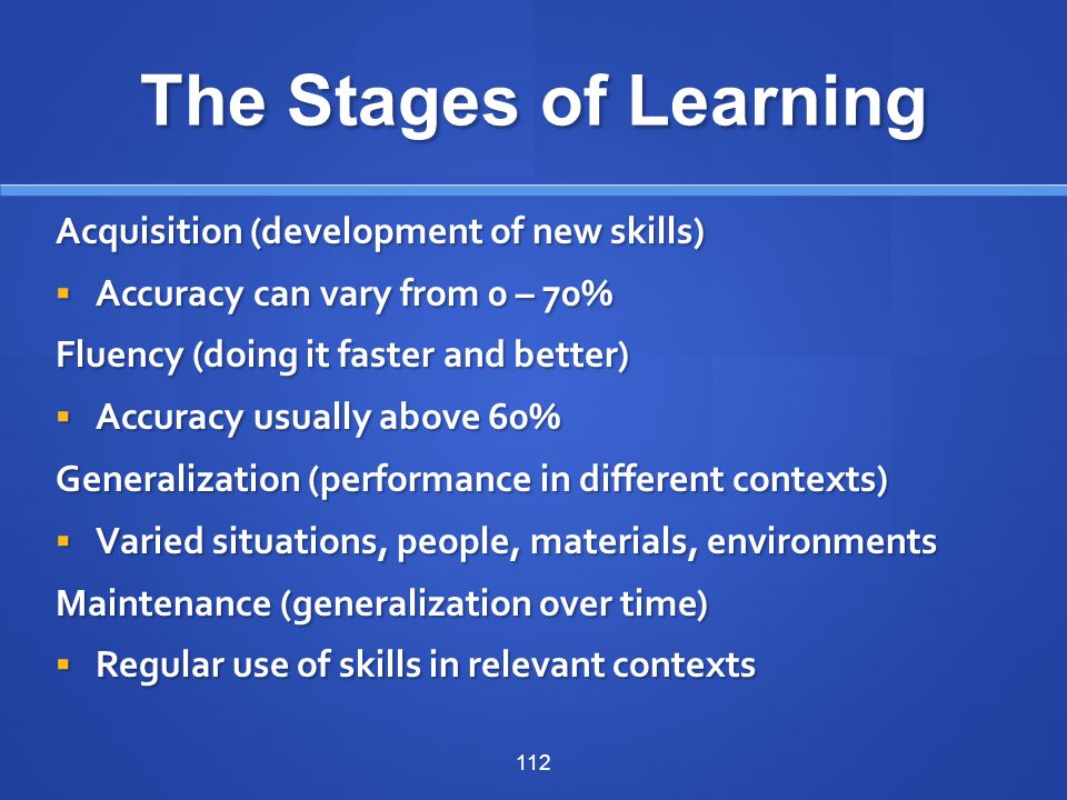 The Stages of Learning Acquisition (development of new skills)