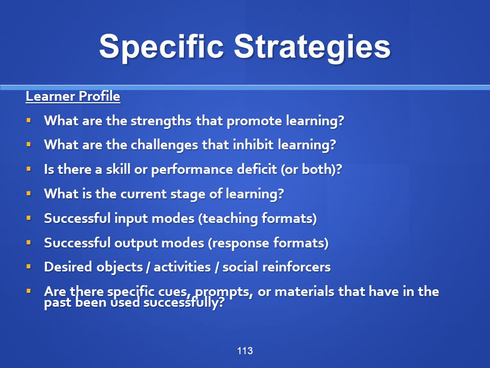 Specific Strategies Learner Profile
