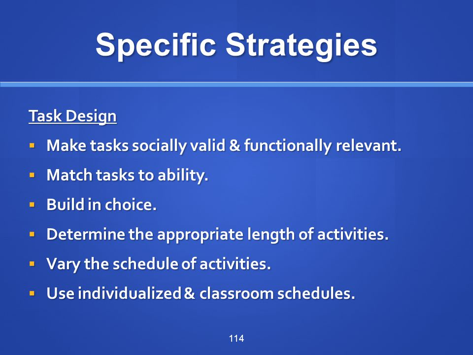Specific Strategies Task Design