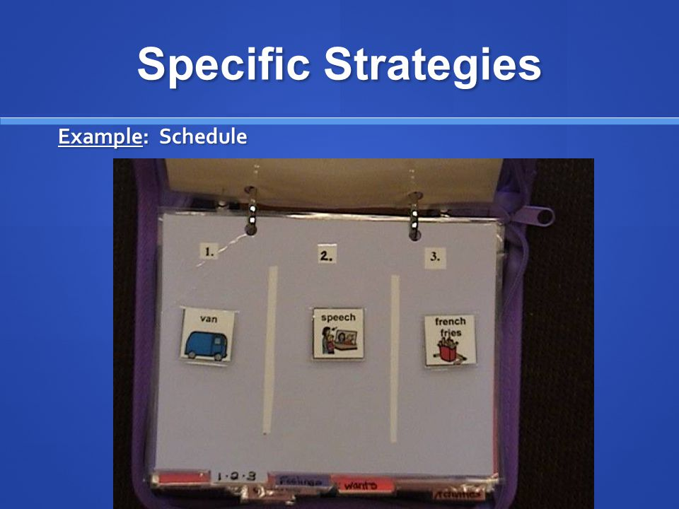 Specific Strategies Example: Schedule