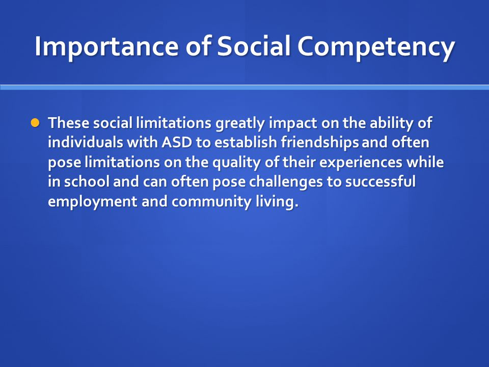 Importance of Social Competency