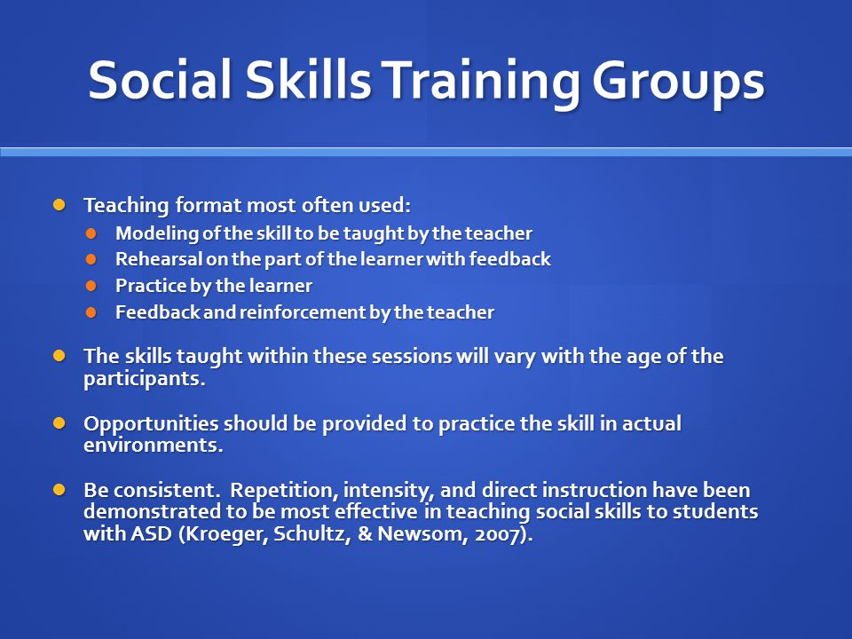 Social Skills Training Groups
