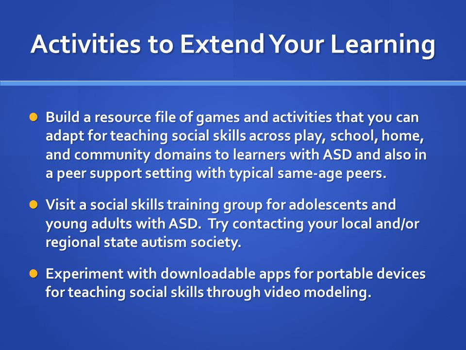 Activities to Extend Your Learning