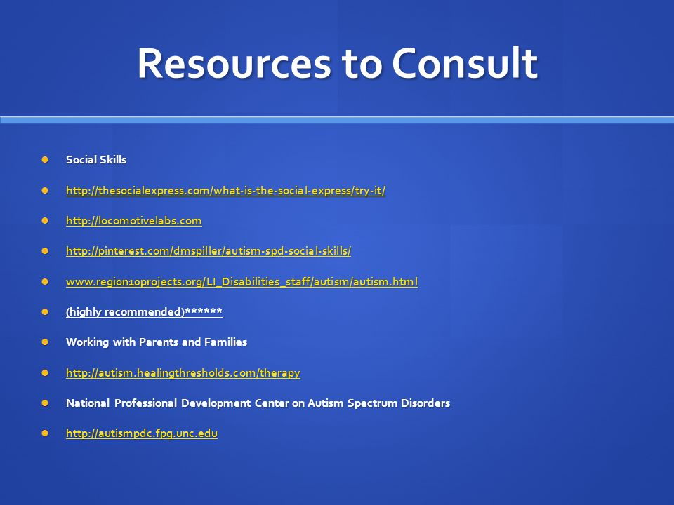 Resources to Consult Social Skills