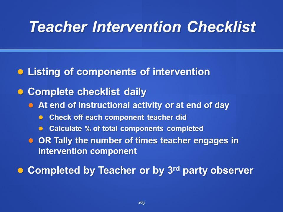 Teacher Intervention Checklist
