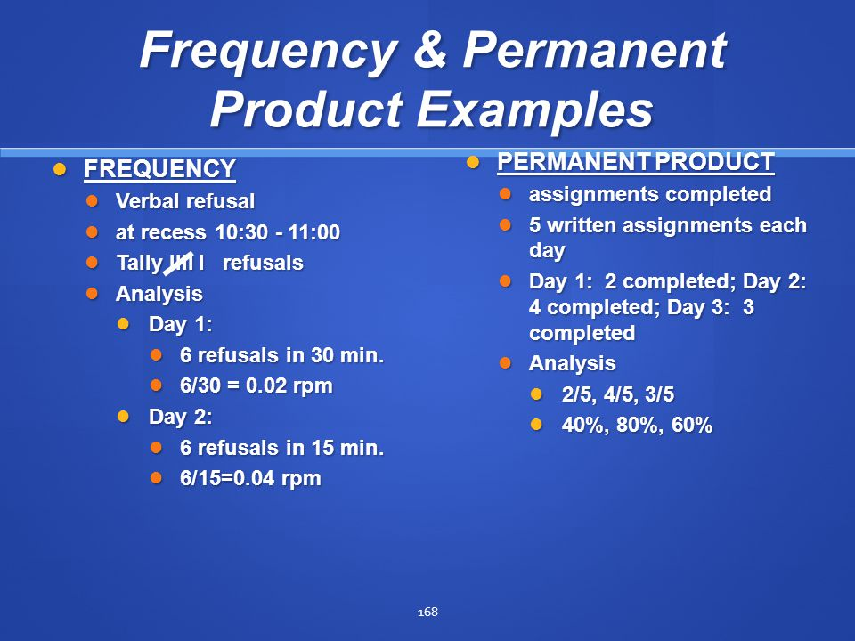 Frequency & Permanent Product Examples