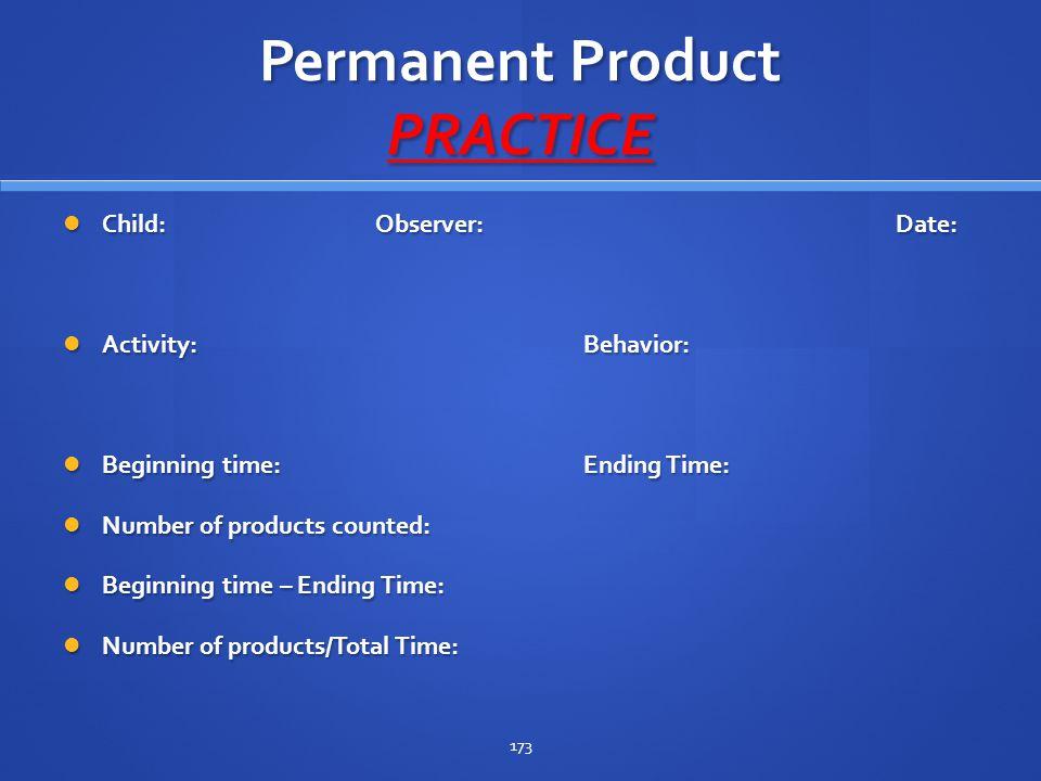 Permanent Product PRACTICE