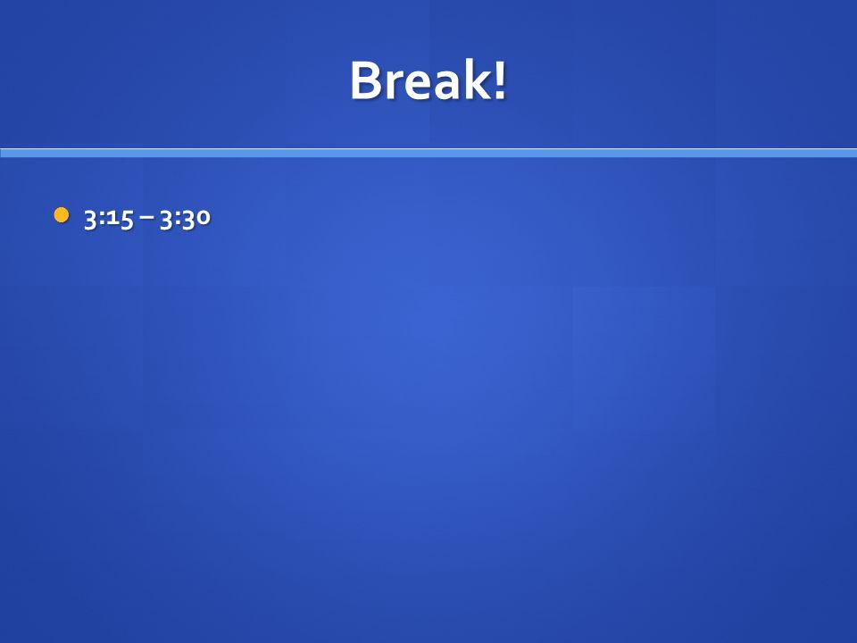 Break! 3:15 – 3:30