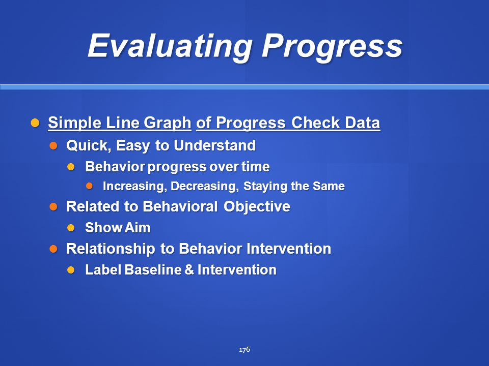 Evaluating Progress Simple Line Graph of Progress Check Data