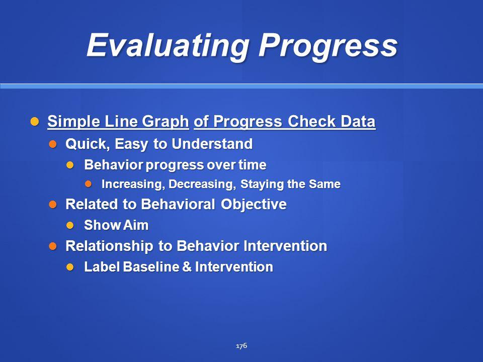 Evaluating Progress Simple Line Graph of Progress Check Data