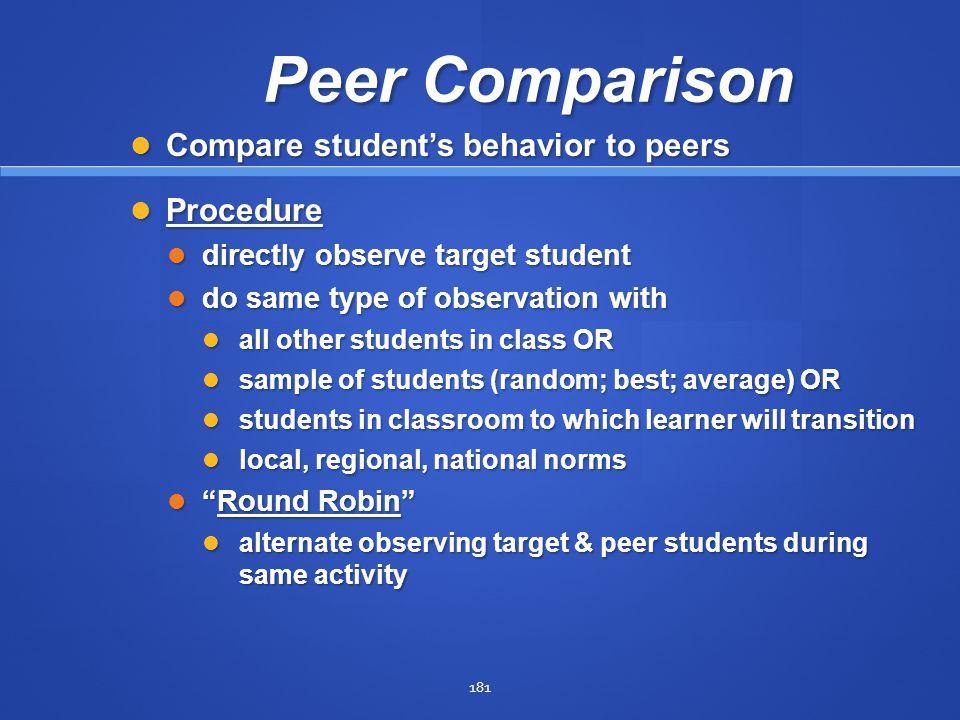 Peer Comparison Compare student's behavior to peers Procedure