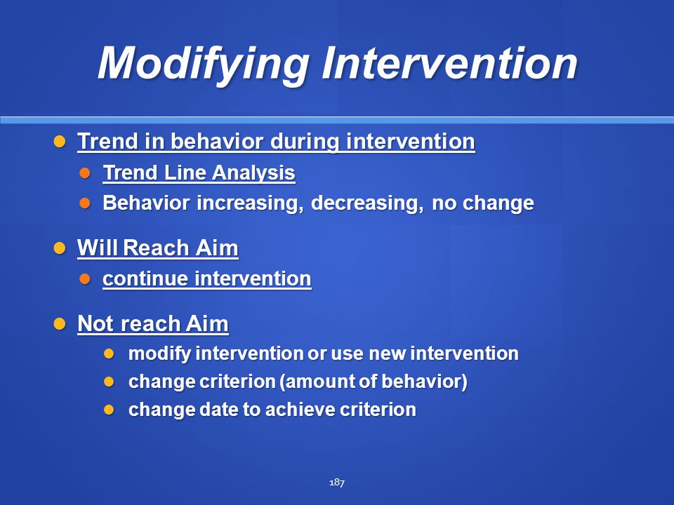 Modifying Intervention