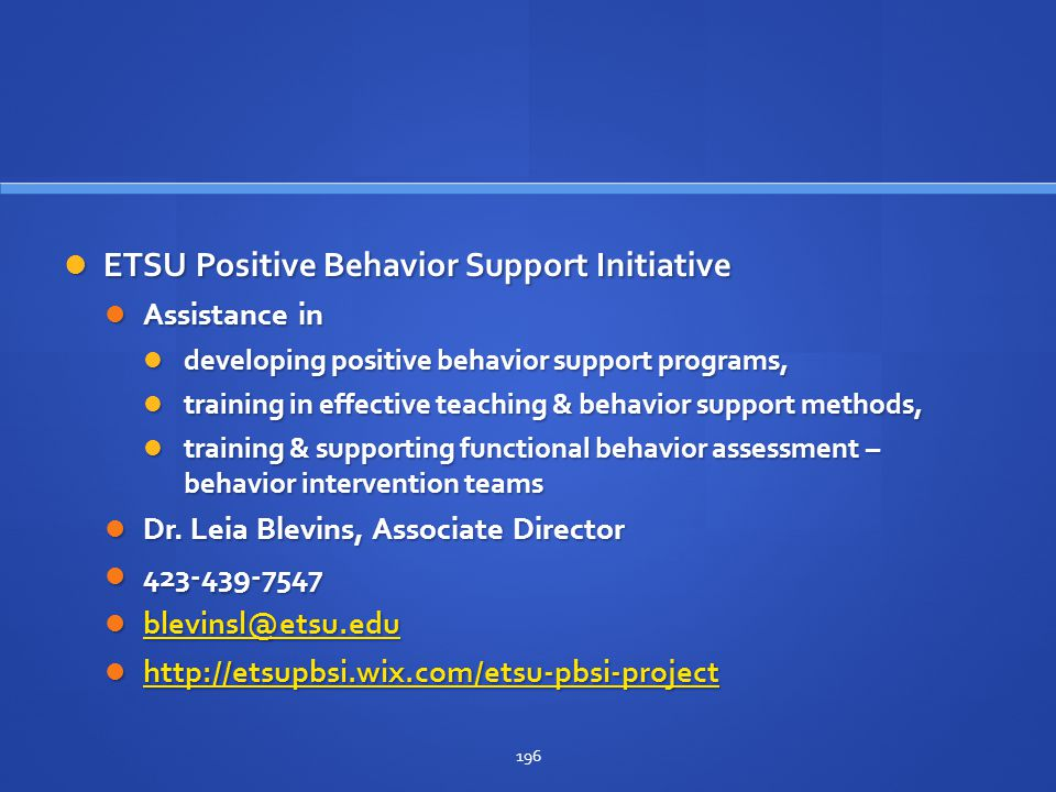 ETSU Positive Behavior Support Initiative