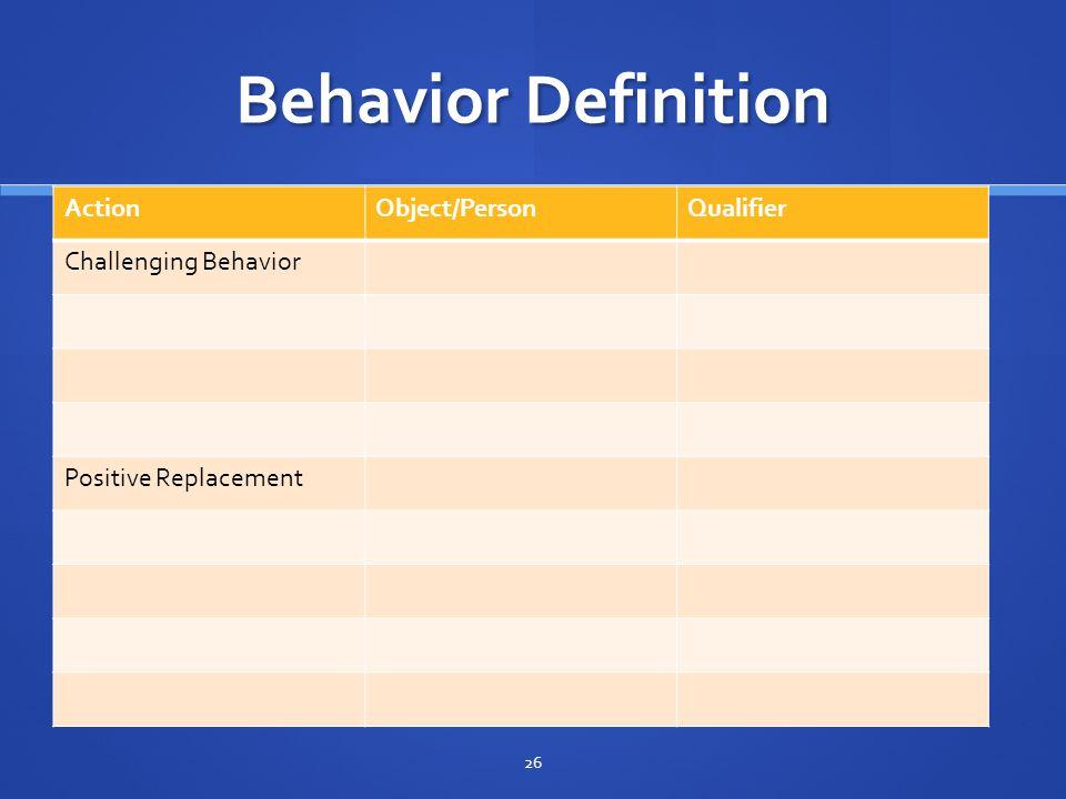 Behavior Definition Action Object/Person Qualifier