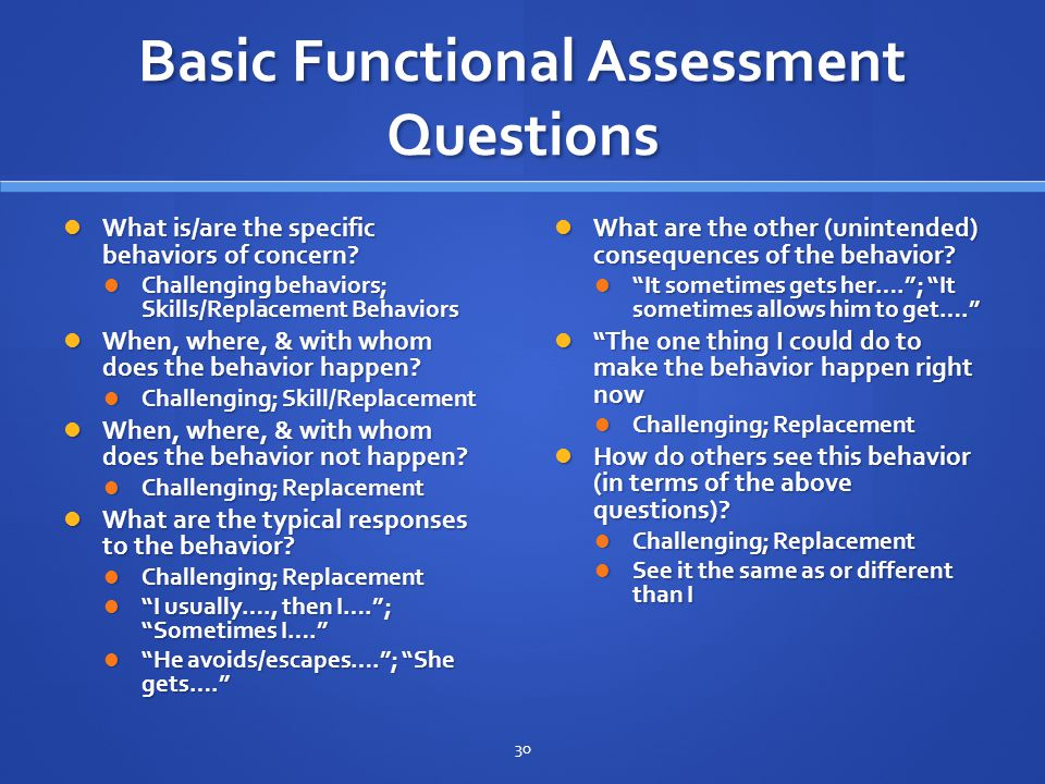 Basic Functional Assessment Questions