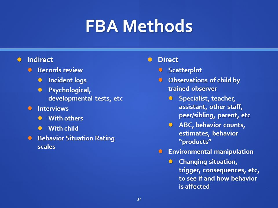 FBA Methods Indirect Direct Records review Incident logs