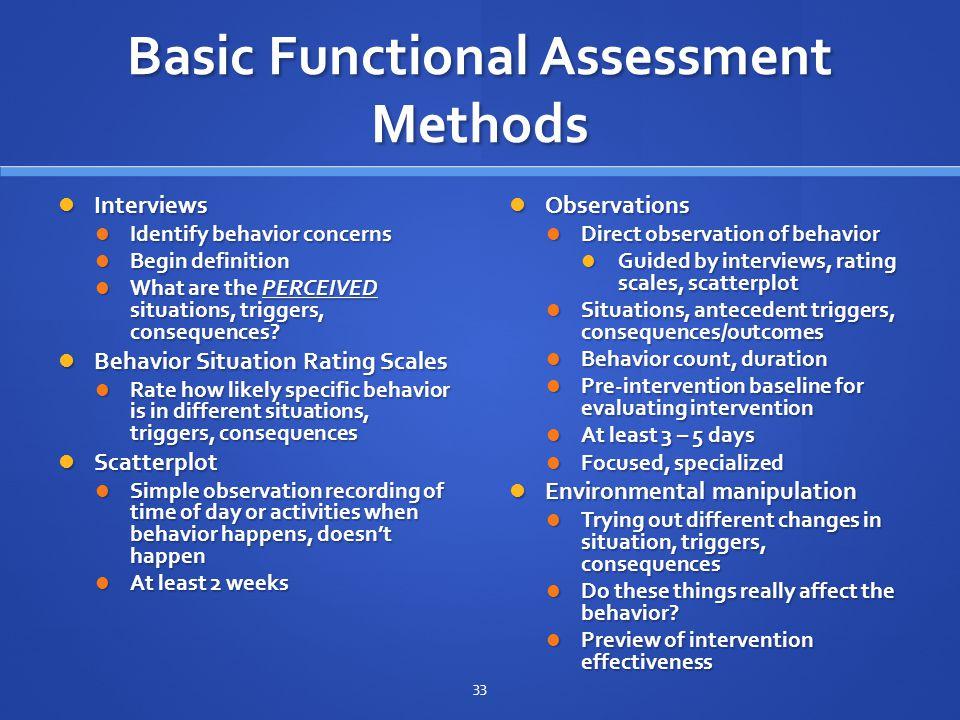 Basic Functional Assessment Methods
