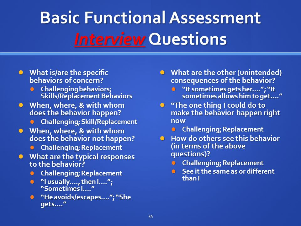 Basic Functional Assessment Interview Questions