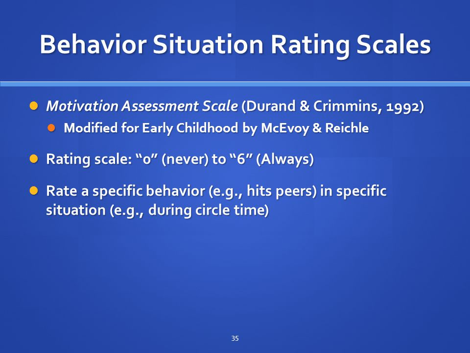Behavior Situation Rating Scales