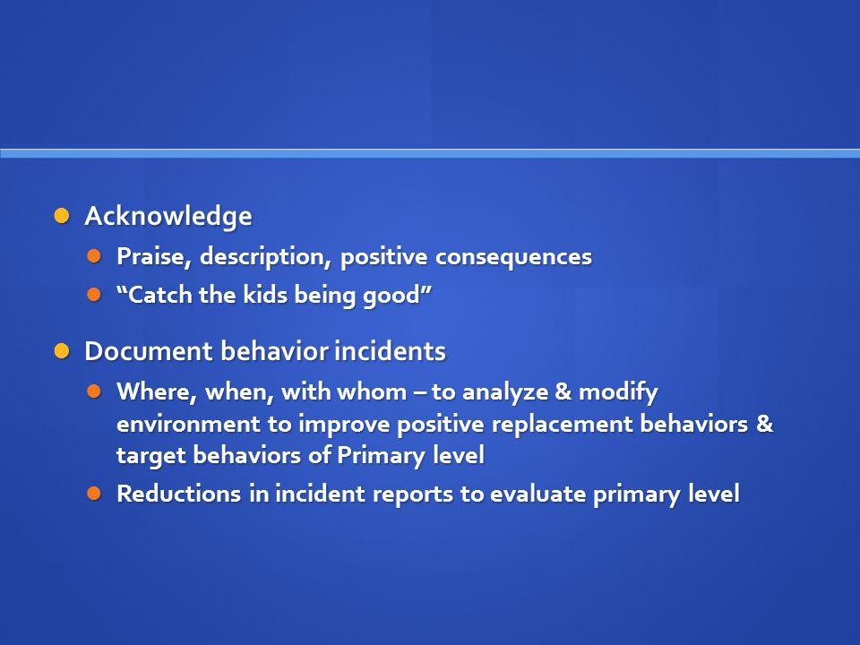 Document behavior incidents
