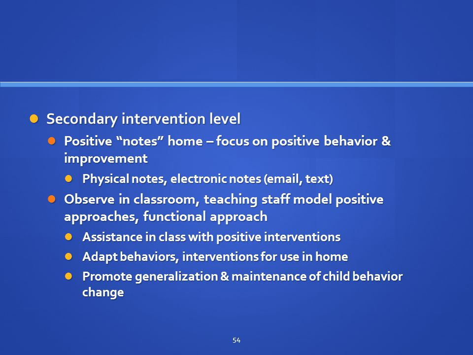 Secondary intervention level