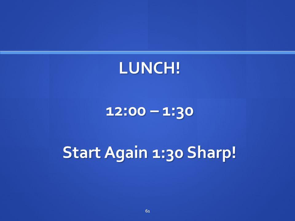 LUNCH! 12:00 – 1:30 Start Again 1:30 Sharp!