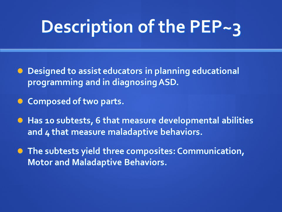 Description of the PEP~3