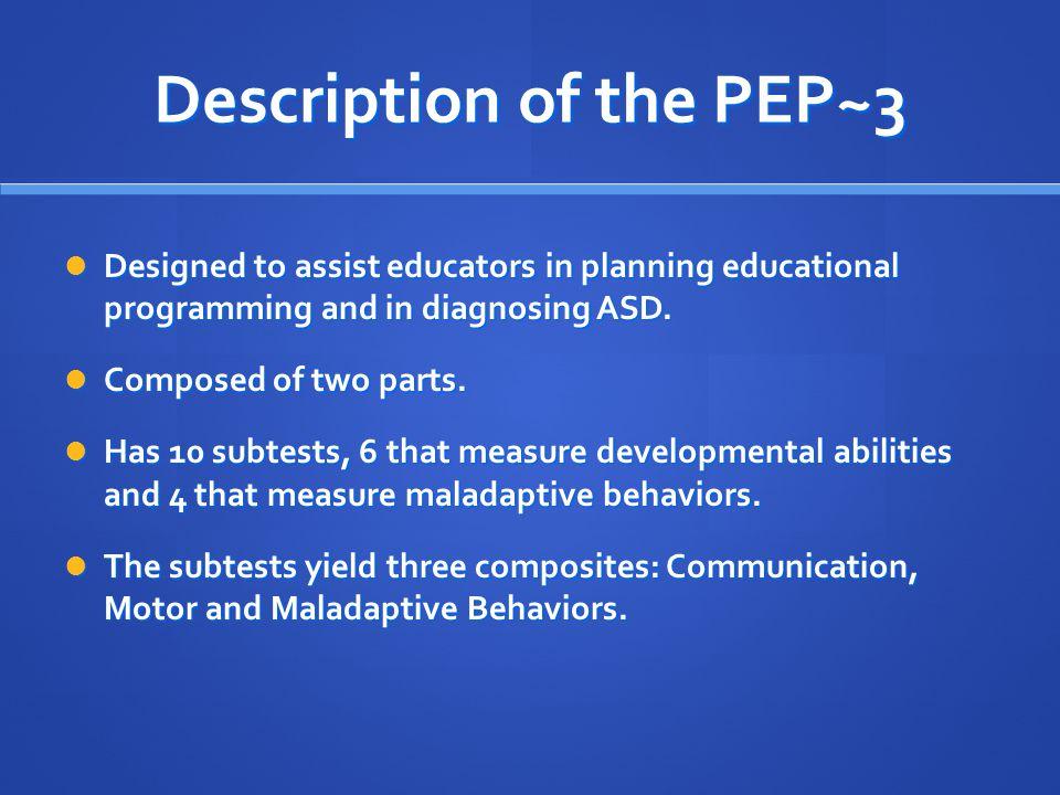 Description of the PEP~3