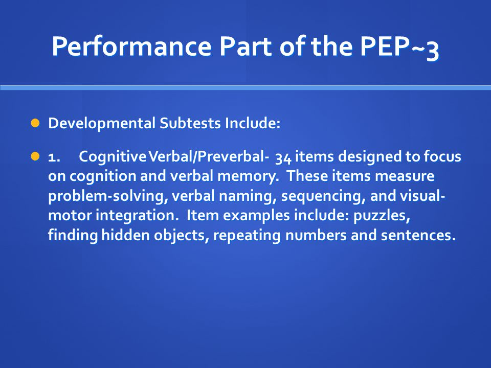 Performance Part of the PEP~3