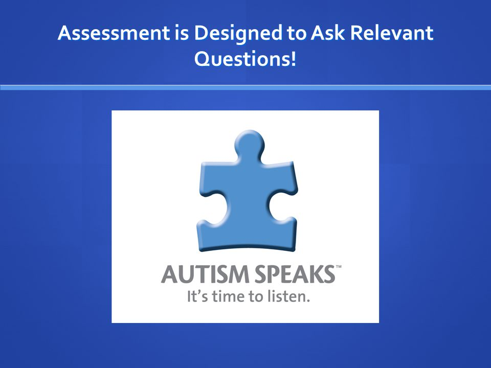 Assessment is Designed to Ask Relevant Questions!