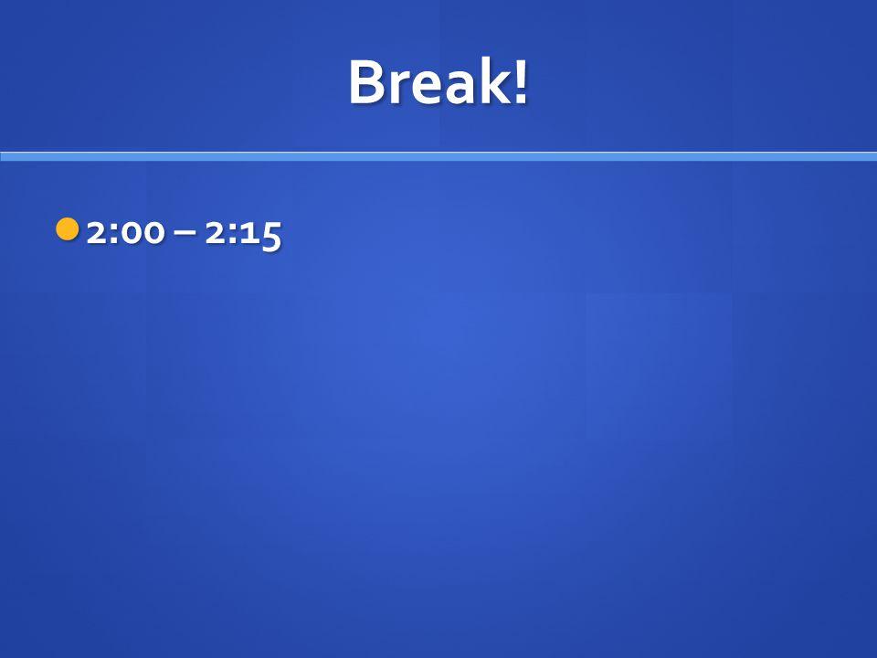Break! 2:00 – 2:15