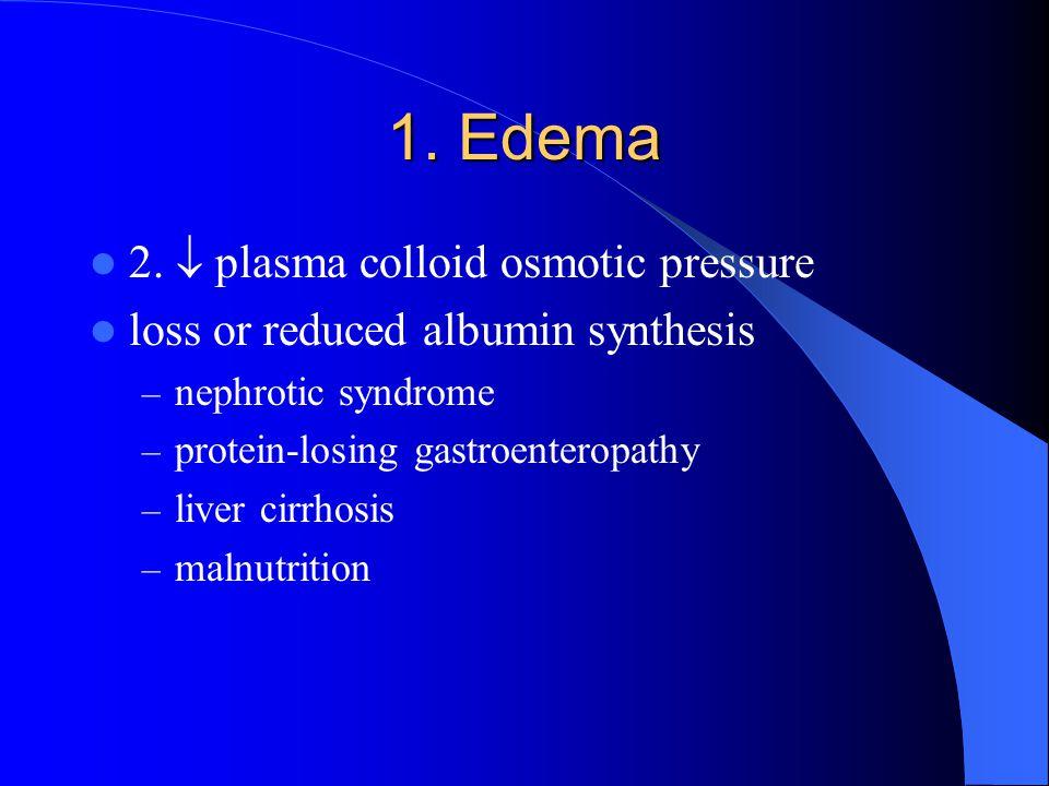 1. Edema 2.  plasma colloid osmotic pressure