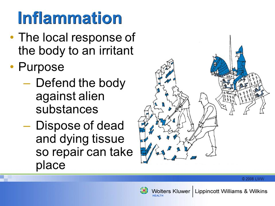 Inflammation The local response of the body to an irritant Purpose