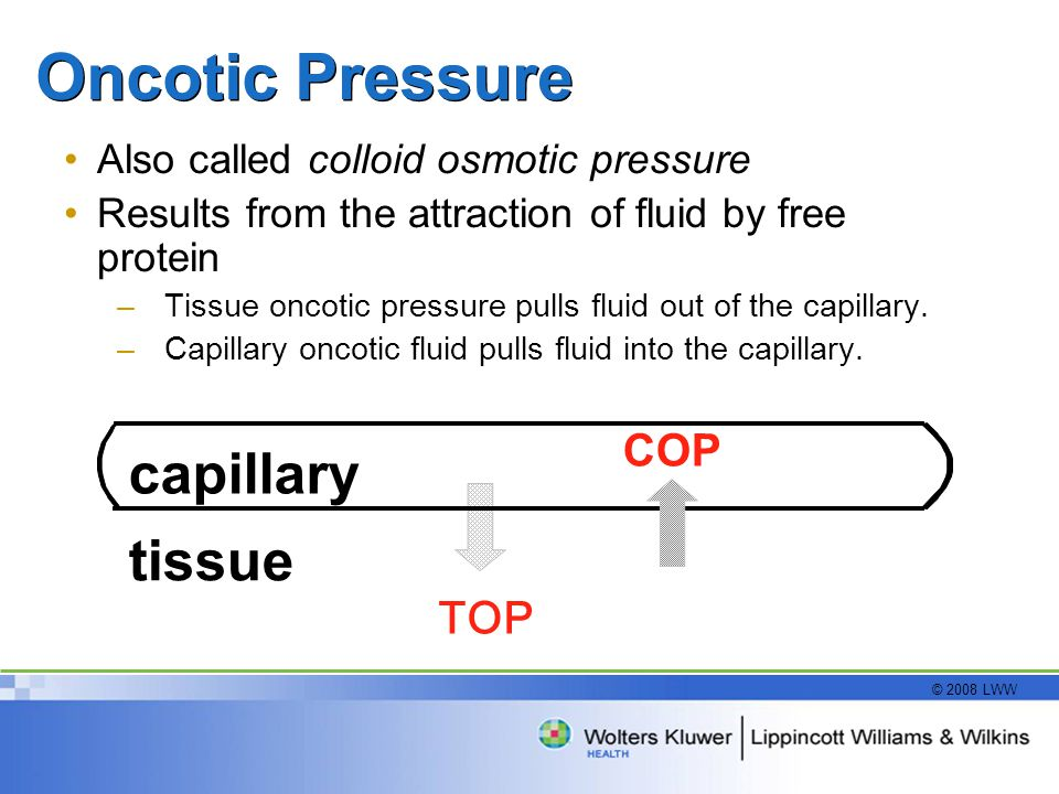 Oncotic Pressure capillary tissue COP TOP