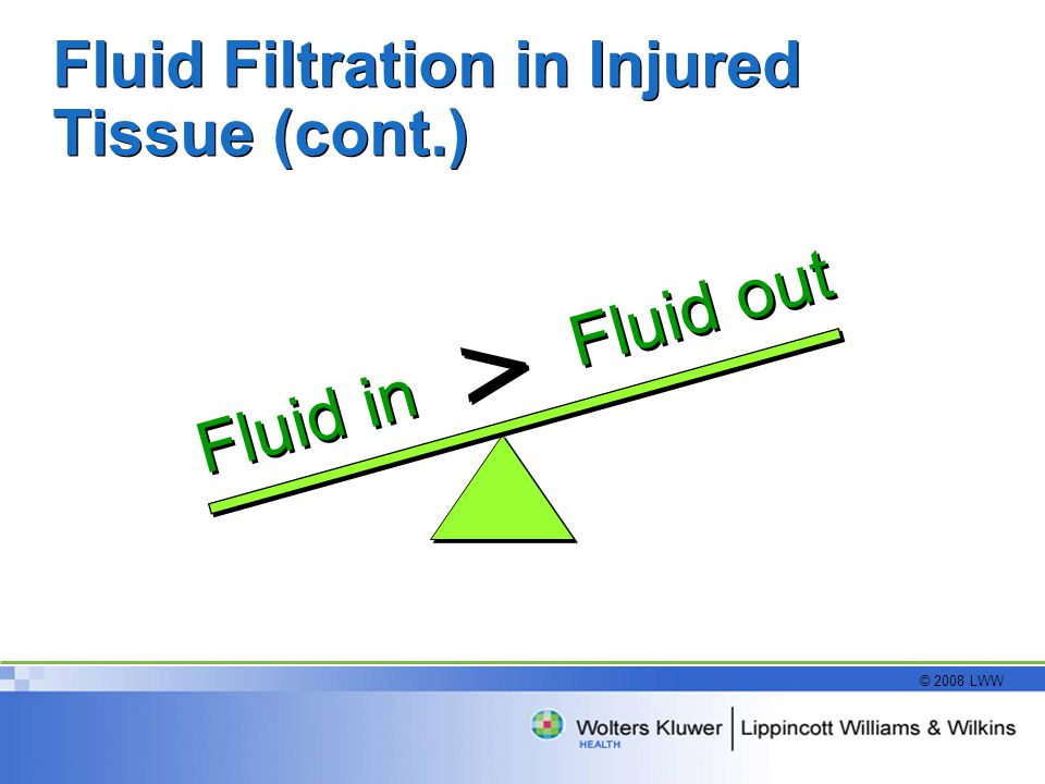 Fluid Filtration in Injured Tissue (cont.)