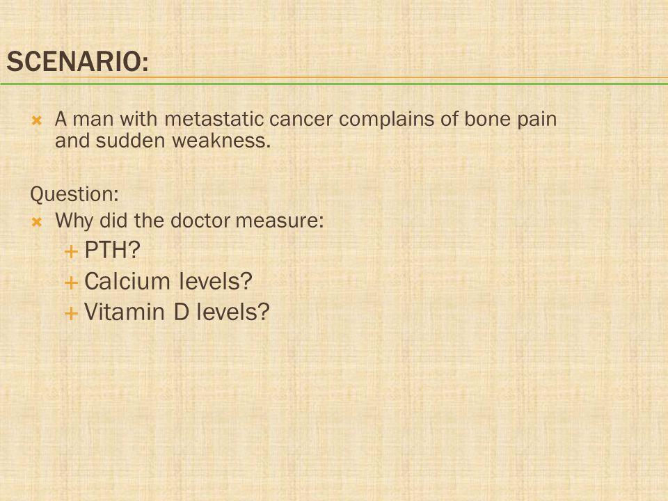 Scenario: PTH Calcium levels Vitamin D levels