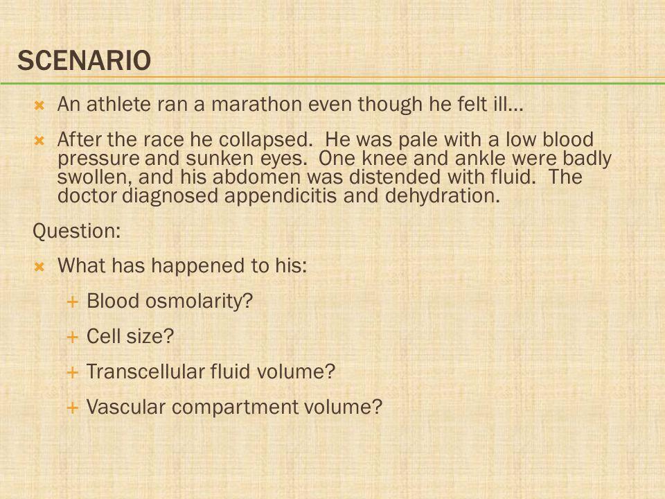 Scenario An athlete ran a marathon even though he felt ill…