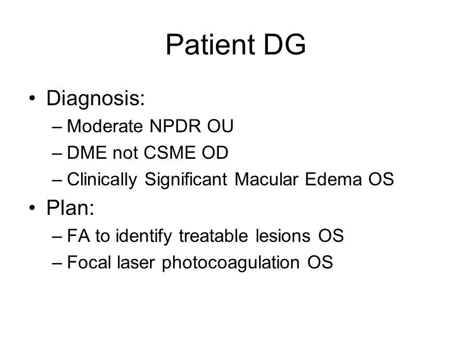 Patient DG Diagnosis: Plan: Moderate NPDR OU DME not CSME OD