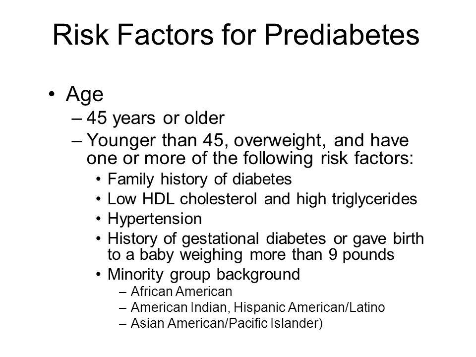 Risk Factors for Prediabetes