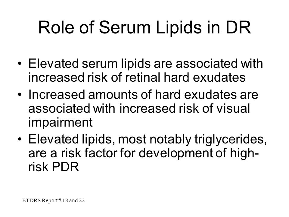 Role of Serum Lipids in DR