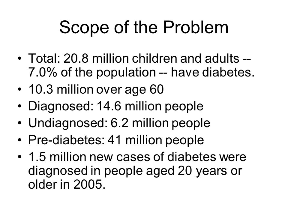 Scope of the Problem Total: 20.8 million children and adults -- 7.0% of the population -- have diabetes.