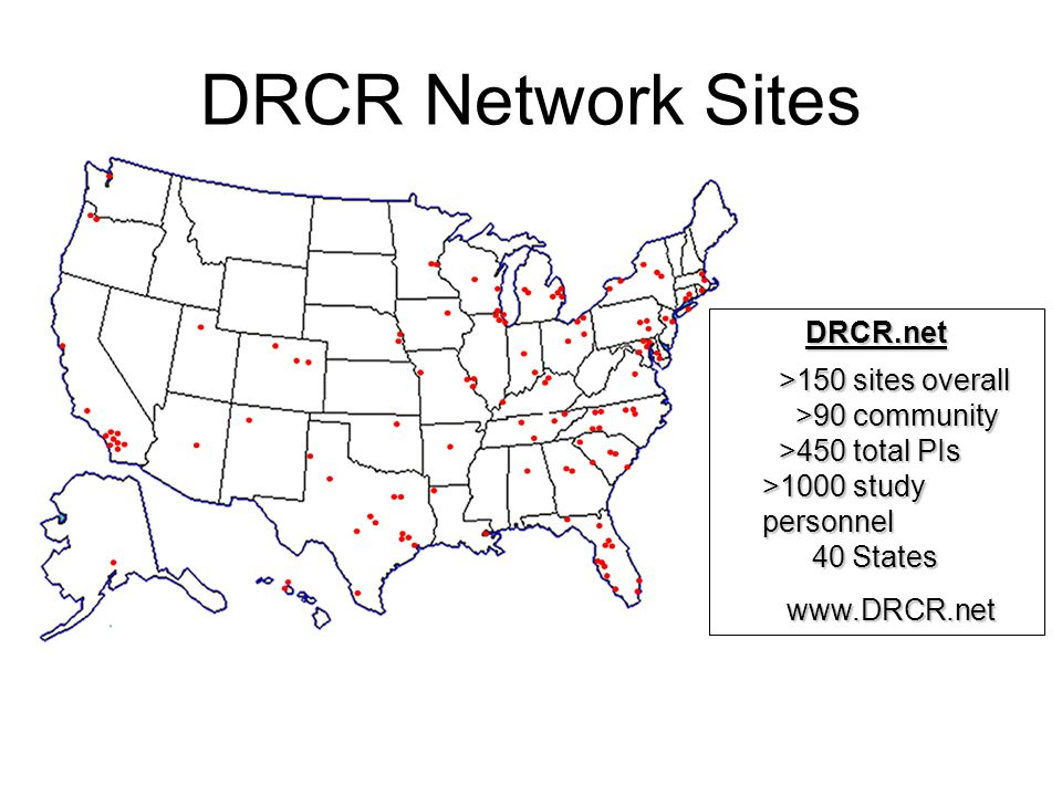 DRCR Network Sites DRCR.net >150 sites overall >90 community