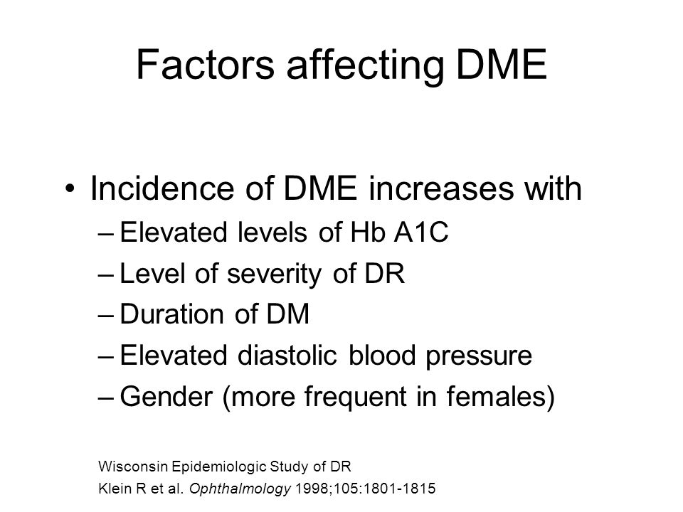 Factors affecting DME Incidence of DME increases with