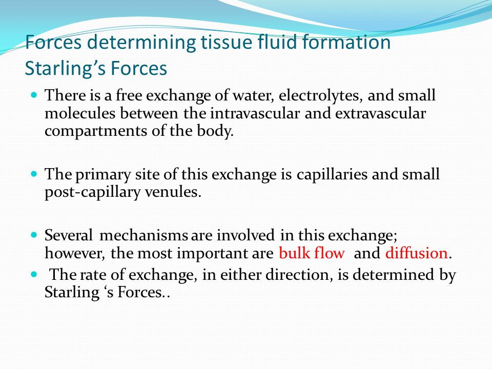 Forces determining tissue fluid formation Starling's Forces