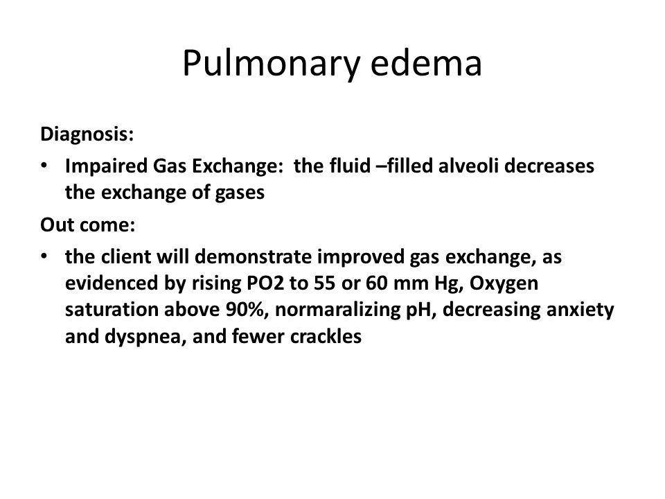 Pulmonary edema Diagnosis: