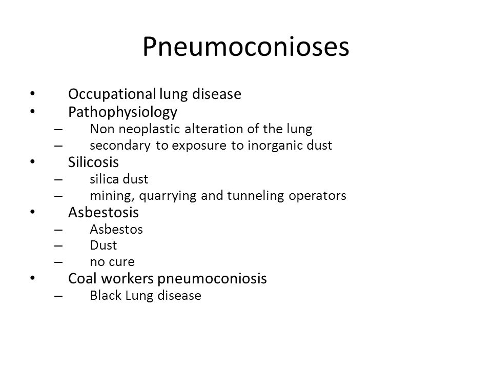 Pneumoconioses Occupational lung disease Pathophysiology Silicosis