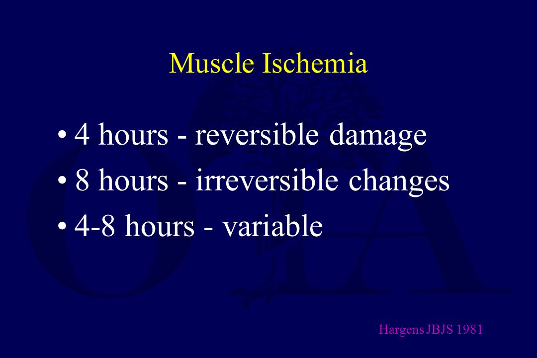 4 hours - reversible damage 8 hours - irreversible changes