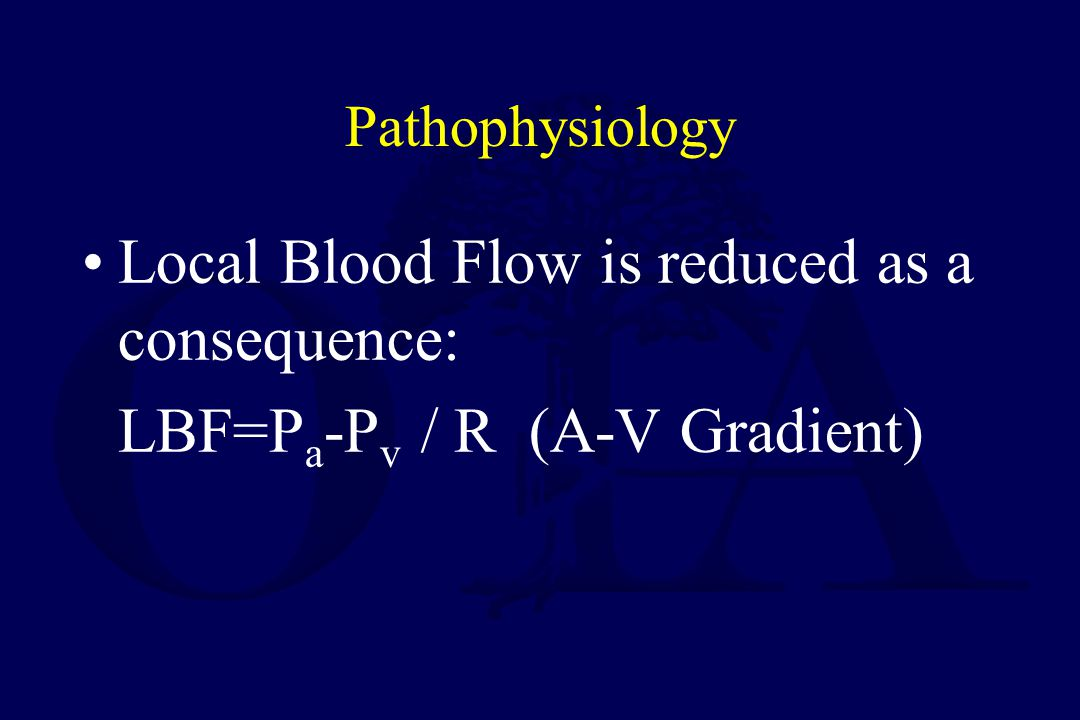 Local Blood Flow is reduced as a consequence: