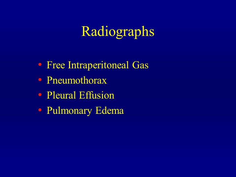 Radiographs Free Intraperitoneal Gas Pneumothorax Pleural Effusion