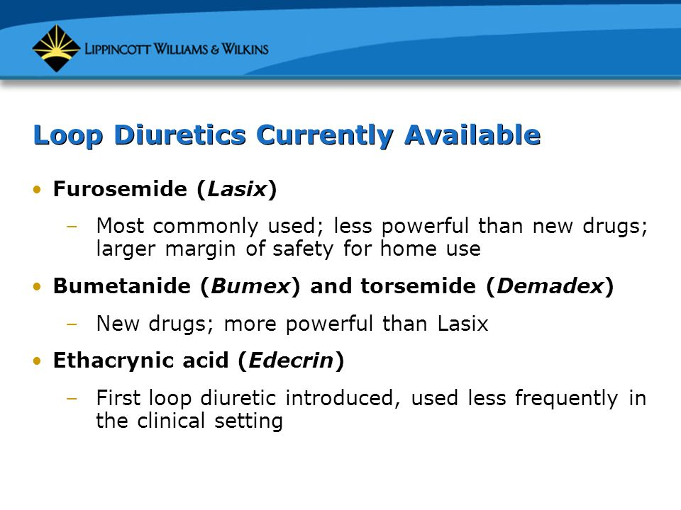 Loop Diuretics Currently Available